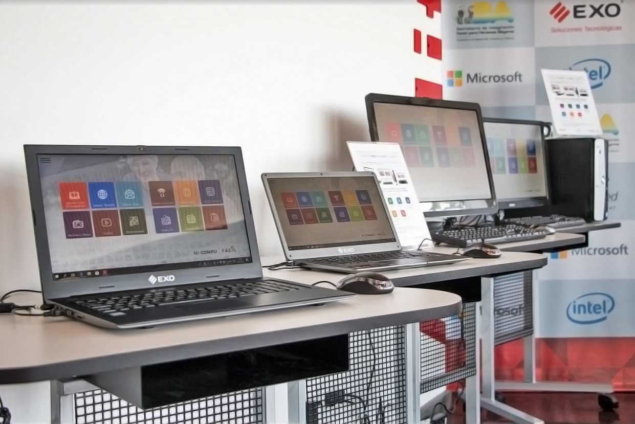 equipos EXO Tecnología FÁCIL, Mi Compu Fácil, notebooks, desktops, all in one, tablets, smartphones, smart fitband, centro de diagnóstico móvil.