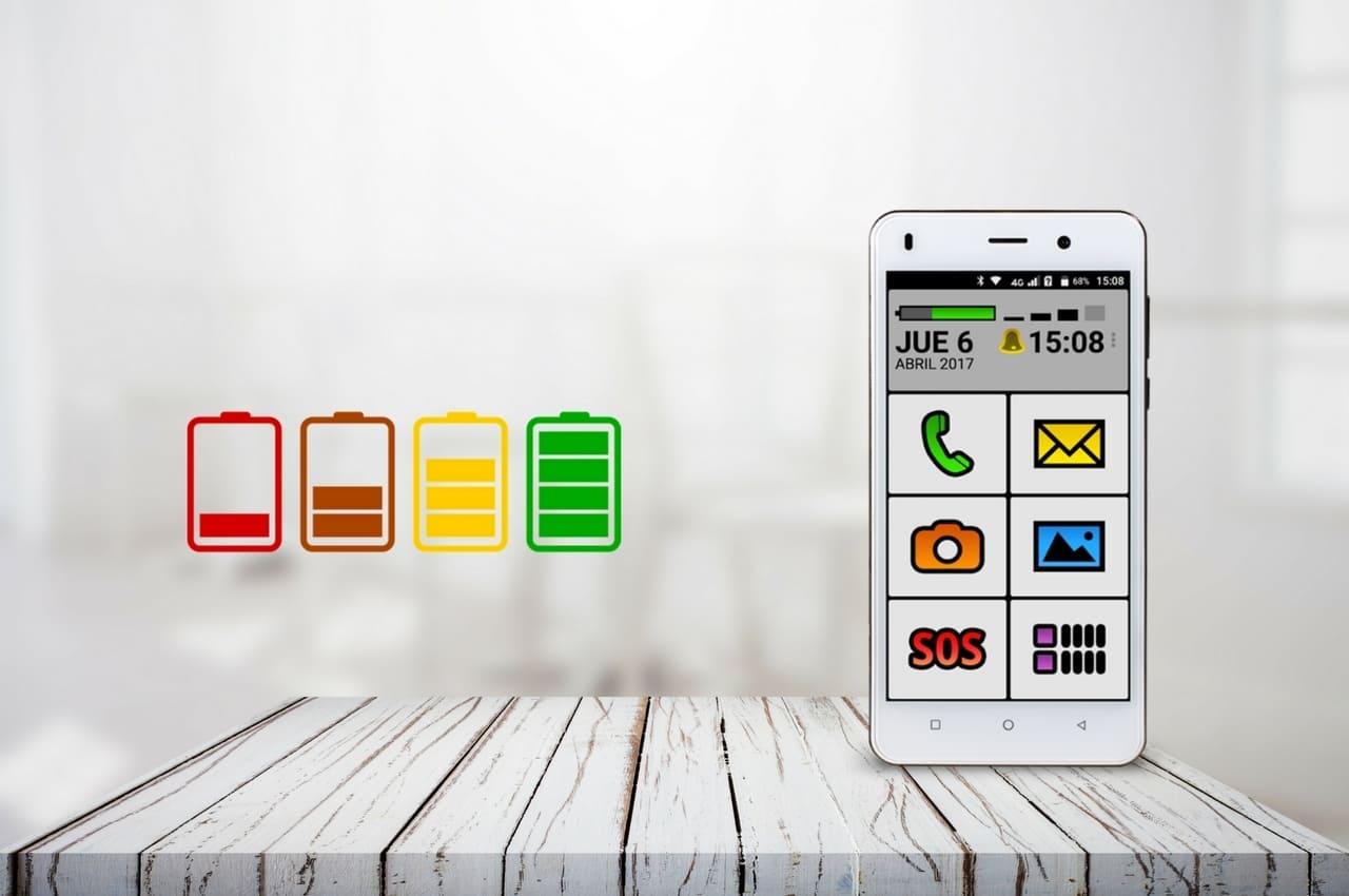 celular spanky e iconos de batería