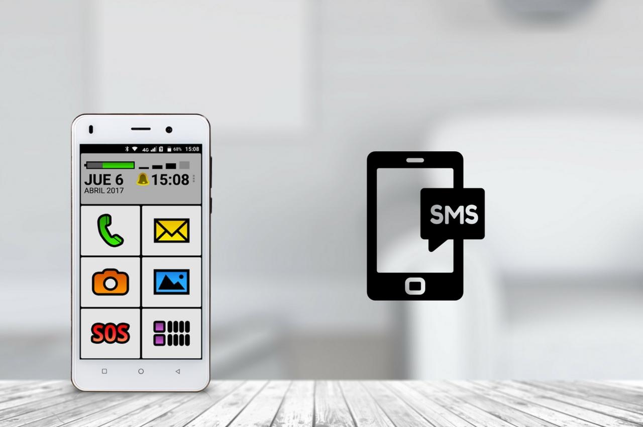 teléfono Spanky facil indicando SMS