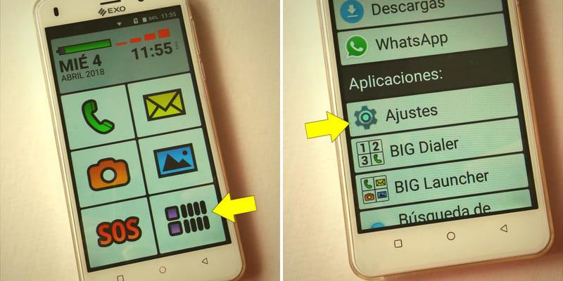 ajustes de pantalla celular exo spanky