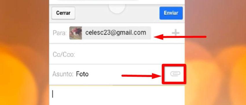 enviar foto del celular a la pc por mail