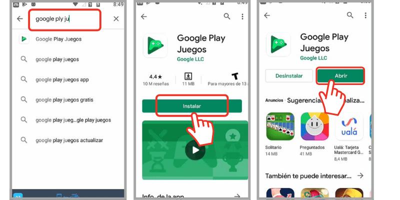 como usar google play juegos